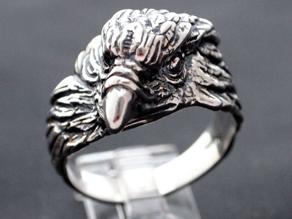 Vintage Design Eagle Head Ring in Sterling Silver or Antique Bronze