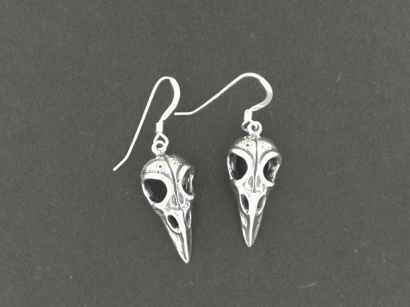 Raven Skull Earrings in Sterling Silver or Antique Bronze