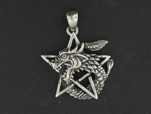 Dragon Pentagram Pendant in Sterling Silver or Antique Bronze