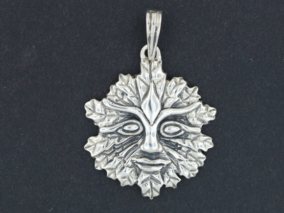 Green Man Pendant  in Sterling Silver or Antique Bronze
