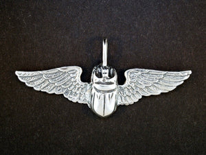 Egyptian Winged Scarab Pendant in Sterling Silver or Antique Bronze