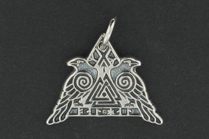 Valknut Warrior Pendant in Sterling Silver or Antique Bronze