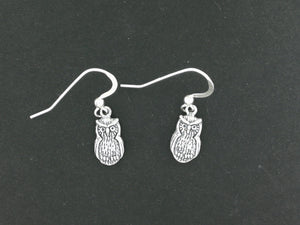 Owl Charm Earrings in Sterling Silver or Antique bronze