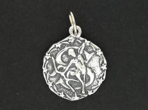 Zodiac Medallion Sagittarius in Sterling Silver or Antique Bronze