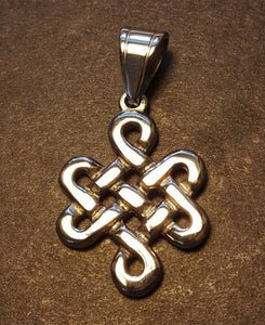 Large Endless Knot Pendant in Stainless Steel Made to Order