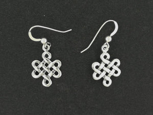 Small Endless Knot Earrings in Sterling Silver or Antique Bronze