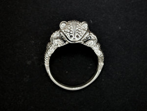 Frog Ring in Sterling Silver or Antique Bronze