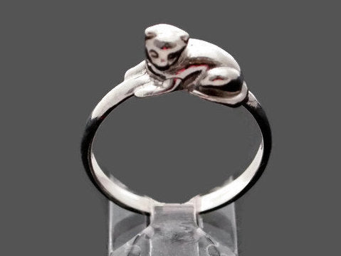 Small 3D Cat Ring in Sterling Silver