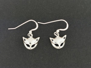 Cat Mask Charm Earrings in Sterling Silver or Antique bronze