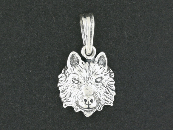 Wolf Head Charm Pendant in Sterling Silver or Antique Bronze