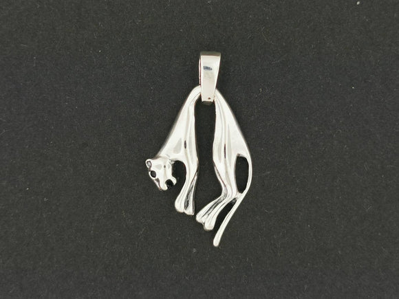 Hanging Cat Pendant in Sterling Silver or Antique Bronze