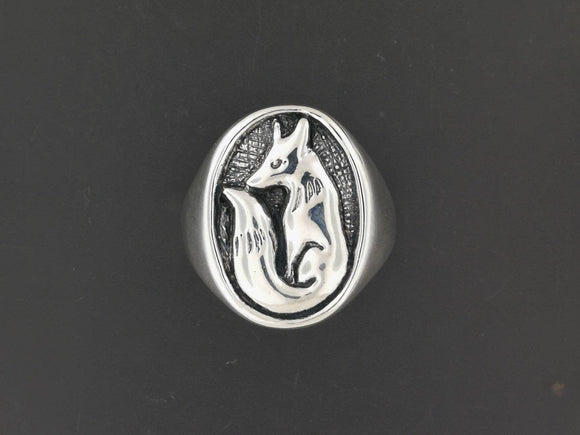 Fox Signet Ring in Sterling Silver or Antique Bronze