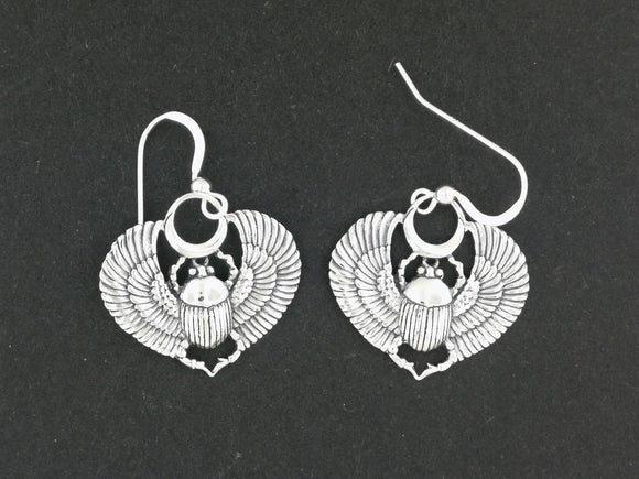 Egyptian Winged Scarab Earrings in Sterling Silver or Antique Bronze