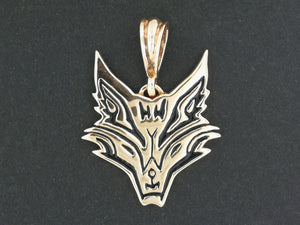 Tribal Fox Head Pendant in Antique Bronze