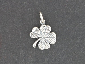 Small Four-Leaf Clover Pendant in Sterling Silver or Antique Bronze