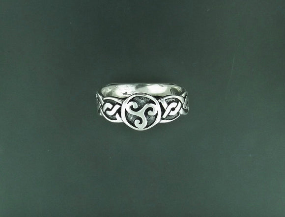 Triskele Knotwork Ring in Sterling Silver or Antique Bronze