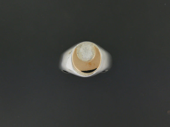 Two Tone Signet Ring in Sterling Silver with Bronze Moon or Star
