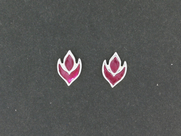 Purple Flame Stud Earrings in Sterling Silver and Enamel