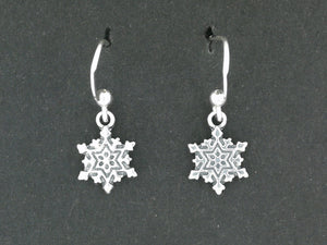 Snowflake Charm Earrings in Sterling Silver or Antique Bronze