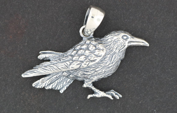 Raven Pendant in Sterling Silver or Antique Bronze