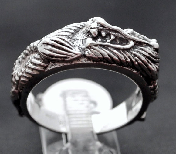 Asian Dragon Band In Sterling Silver or Antique Bronze