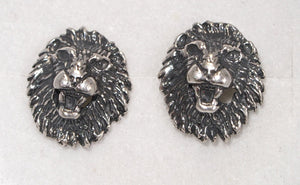 Lion Head Stud Earrings in Sterling Silver