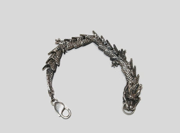 Large Chinese Dragon Bracelet in Sterling Silver or Antique Bronze made to order