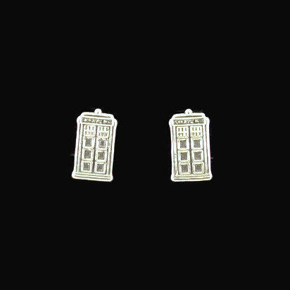 Sterling Silver Tardis Earrings from Dr Who