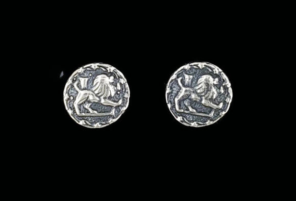 Sterling Silver Zodiac Stud Earrings Leo