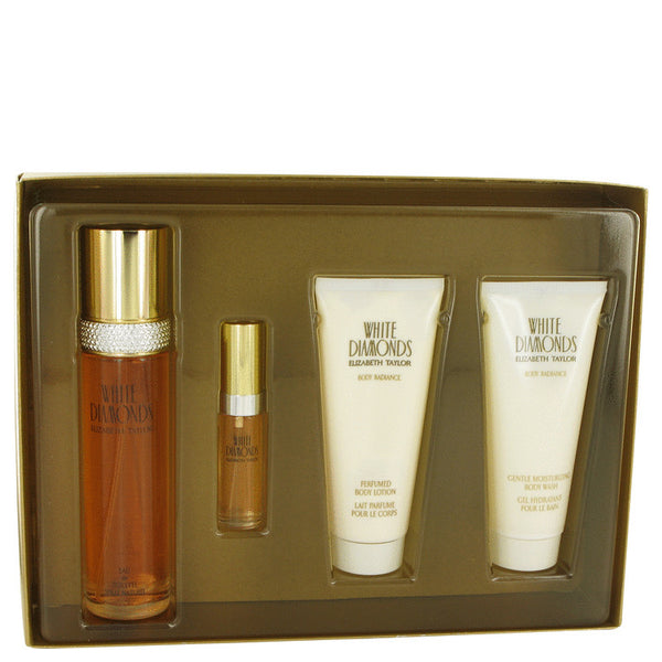 Elizabeth Taylor WHITE DIAMONDS Gift Set - Eau De Toilette Spray + Mini EDT Spray + Body Lotion + Body Wash for Women