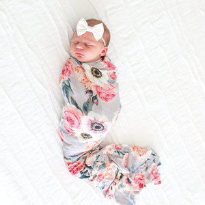 French Gray Floral Swaddle Headband Set