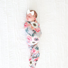 Load image into Gallery viewer, French Gray Floral Swaddle Headband Set