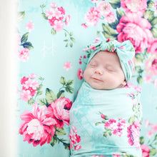 Load image into Gallery viewer, Aqua Floral Double Sided Swaddle Headband Set