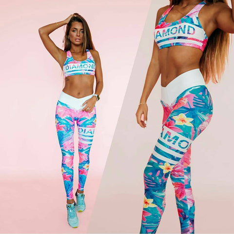 2 Piece Workout Set With Flower Print