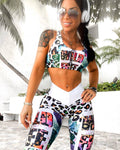Multicolor Flower Leaf Letter Print - Stylish Activewear Set for Women