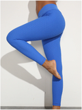 Energy V Shape Waist Blue Sport Gym Leggings Geometric Pattern
