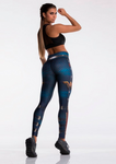 Fashion Blue Captain Fight Push Up Workout Leggings