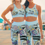 High Waist Activewear Set with Banana Print