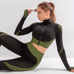 Seamless Long Sleeve Activewear Set for Women with Zipper