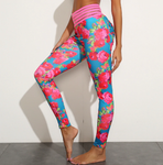 Stylish Leggings with Flower Print and Pockets