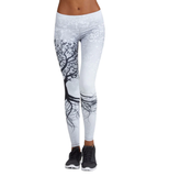 Women Leggings Printed Tree Pattern with Push Up Effect