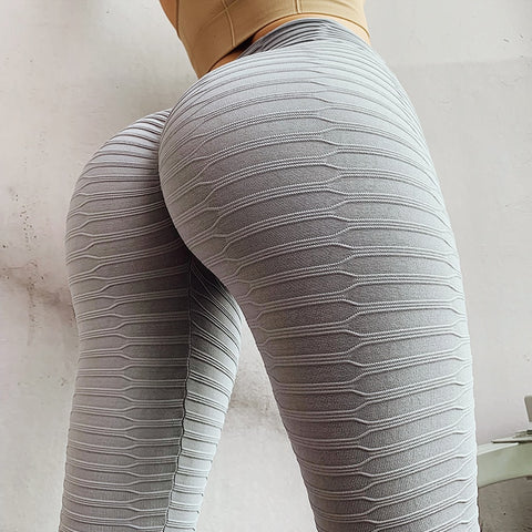 High Waist Fold Sport Leggings Women Tummy Control Push Up Effect