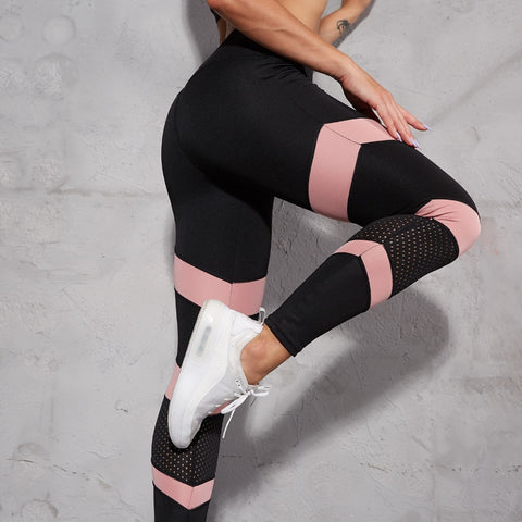 High Waist Yoga Pants Women Pink Mesh Patchwork Sport Leggings