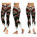 Elastic Slim Workout Leggings with Skull Print