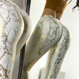 Elastic Push Up Fitness Leggings with Snakeskin Print