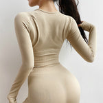 Ribbed Seamless Long Sleeve Activewear Set