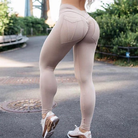 High Waist Push Up Workout Leggings with Solid Pockets