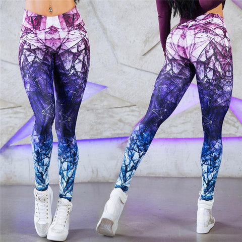Mandala Leggings Purple Cube Gradient Magic Print