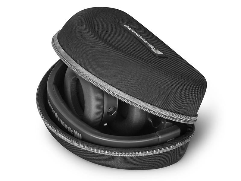 hard headphone case with black headphones