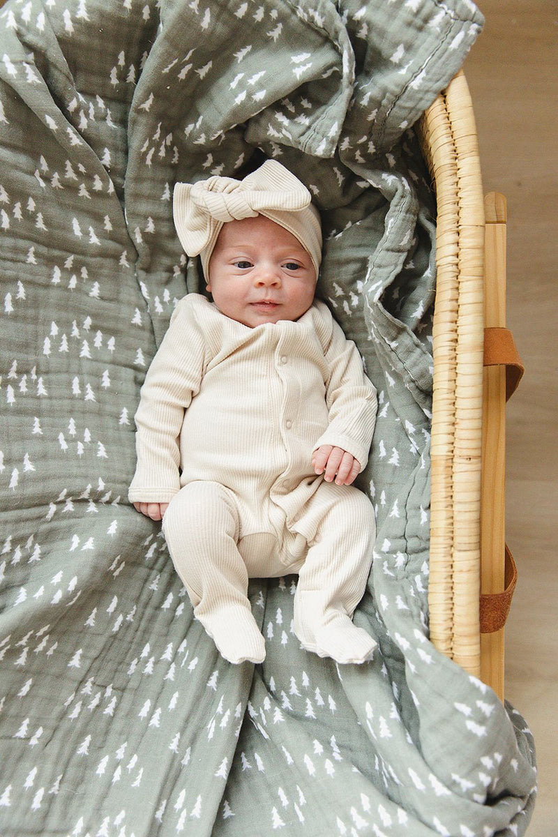 Vanilla Organic Cotton Ribbed Footed Zipper One-piece - Project Nursery